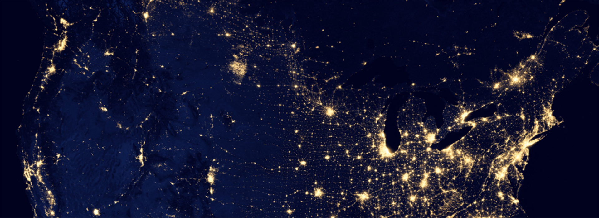 night view of north america from space