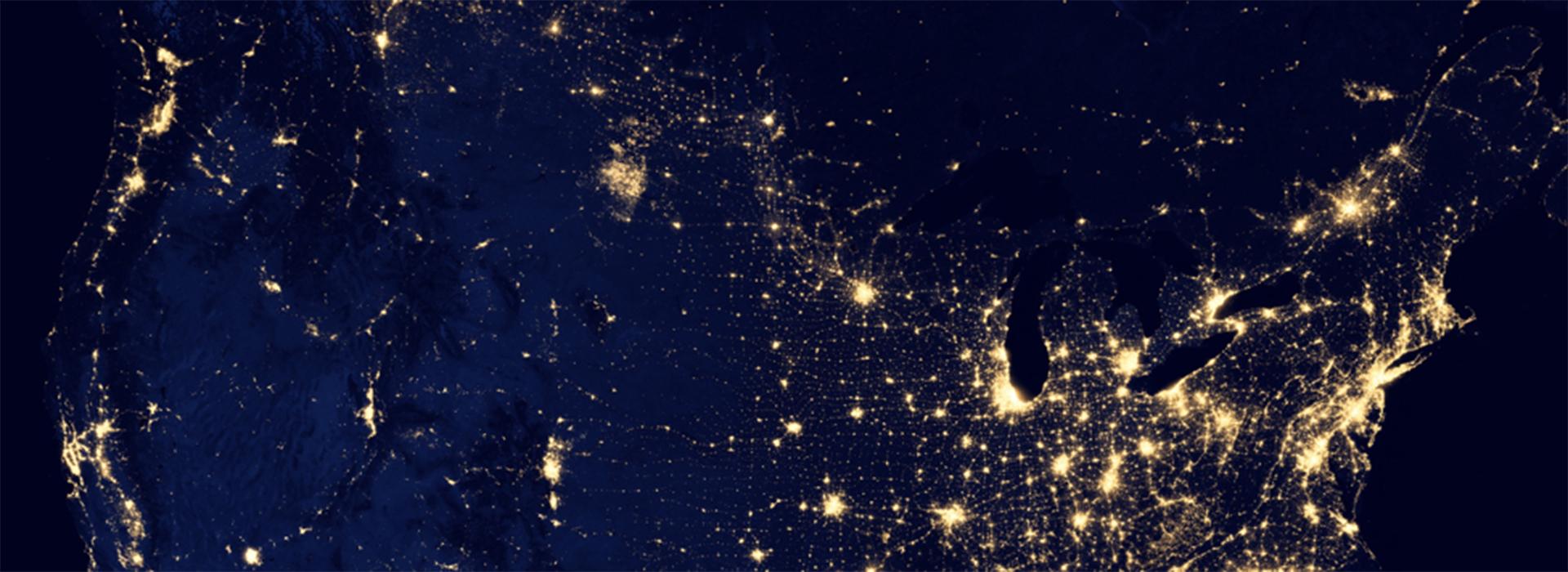 vue de nuit de l'amérique du nord de le cosmos