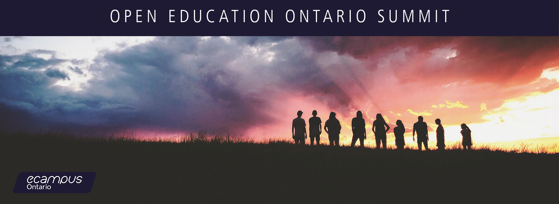 "goup of people standing on a hill looking into the sunset with a caption of ""open education ontario summit"" presented by ecampus ontario"