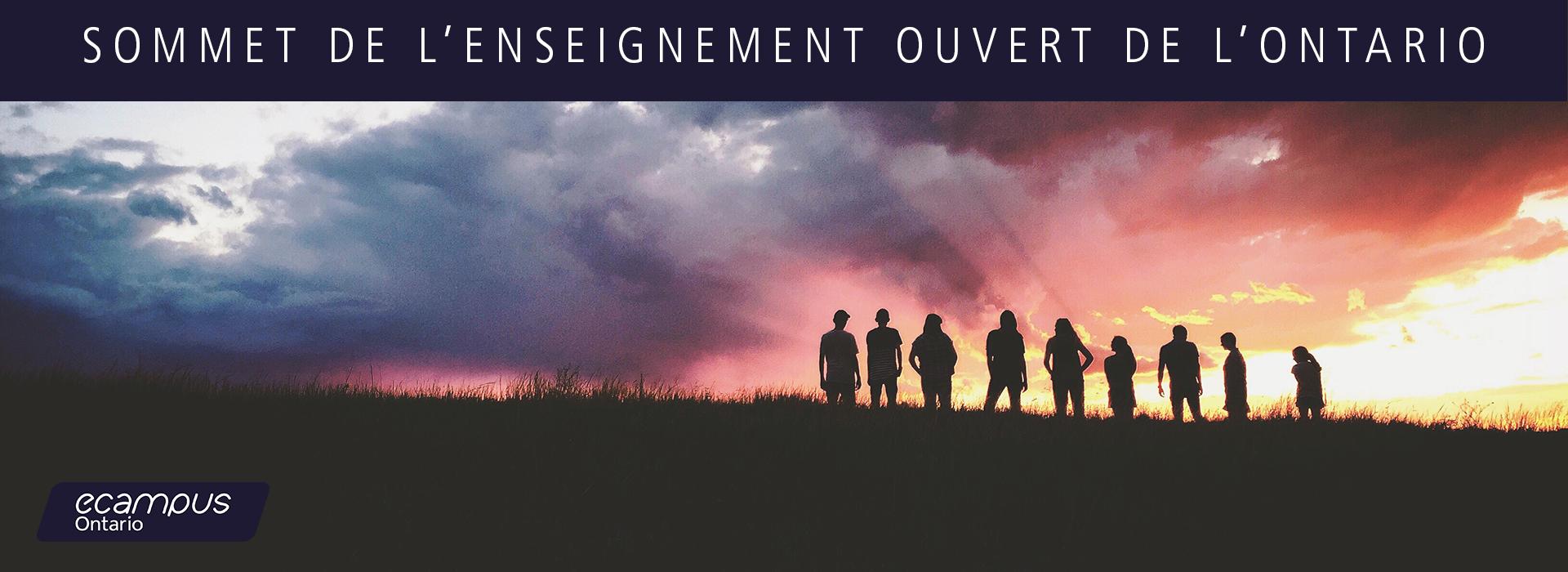 """groupe de personnes se tenant debout sur une colline regardant le coucher du soleil avec une légende de """"sommet de l'enseignement ouvert de l'ontario"""" présenté par ecampus ontario"""