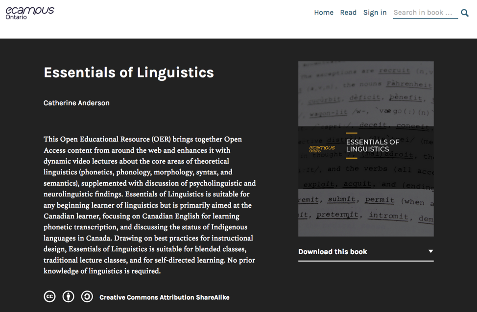 A screenshot of the Essentials of Linguistics ebook
