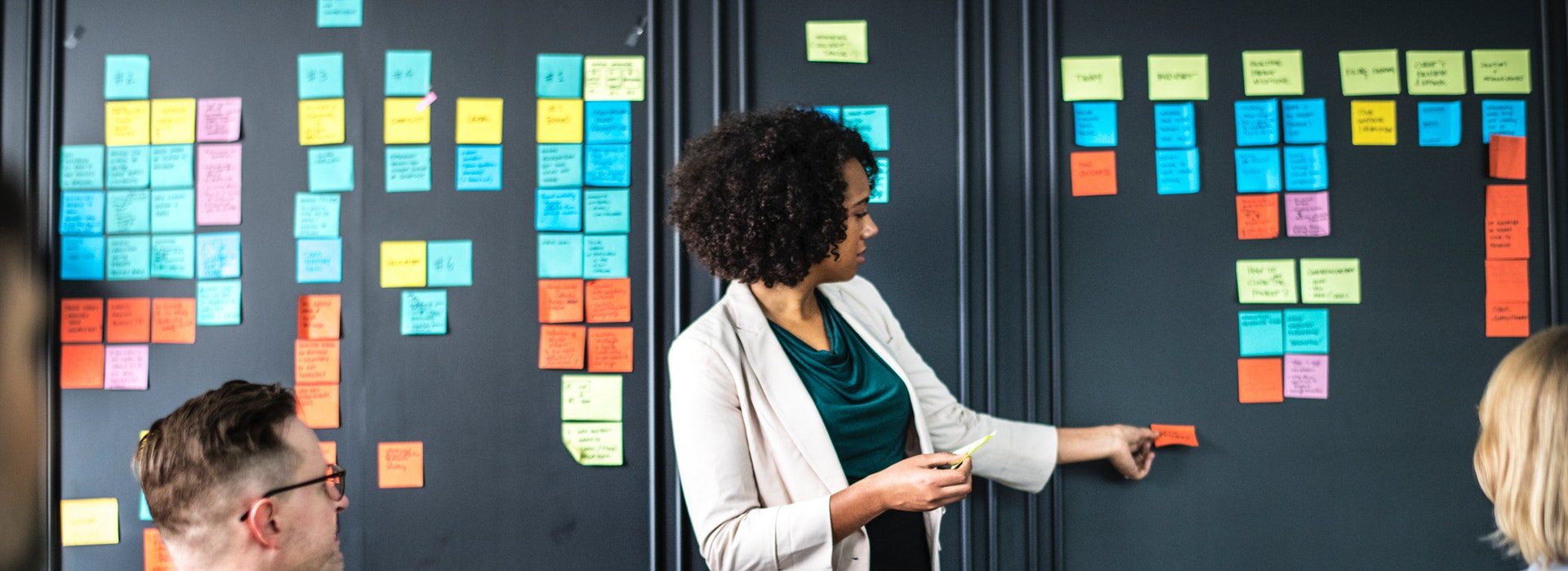A woman in a beige blazer presents at a black wall covered in brightly-coloured post-it notes, while two coworkers look on. Capture d'écran d'un manuel numérique montrant un lien vers un questionnaire interactif