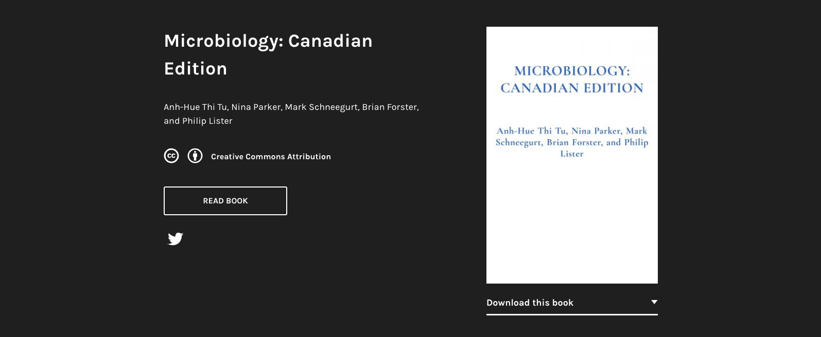 Screenshot of a black and white webpage showing a copy of the textbook, Microbiology: Canadian Edition